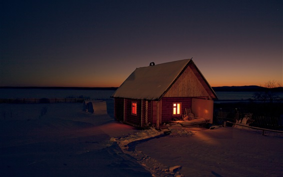 Wallpaper Hut, snow, winter, lights, night