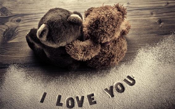 Wallpaper I Love You, teddy bears, romantic