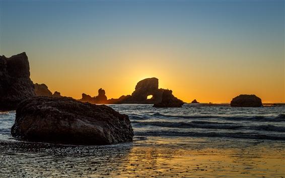 Fond d'écran Indien, plage, rochers, mer, Coucher soleil, Orégon, USA