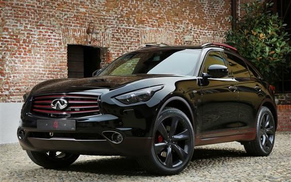 배경 화면 인피니티 QX70 블랙 SUV 자동차