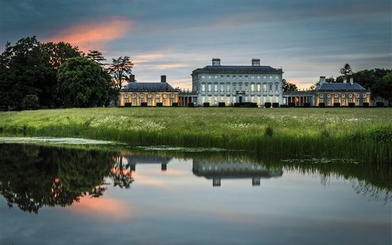 Wallpaper Ireland, manor, house, lake, water reflection, grass, dusk