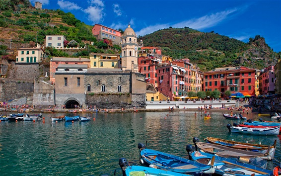 Wallpaper Italy, Cinque Terre, mountains, houses, bay, boats