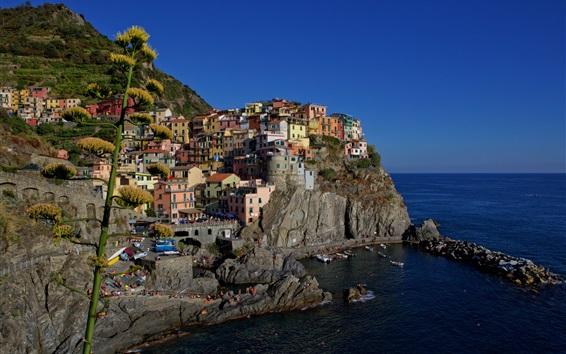 壁紙 イタリア、リグーリア海岸、チンクエテッレ、岩、住宅、海