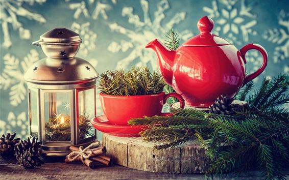 Wallpaper Kettle, cup, twigs, lantern, New Year