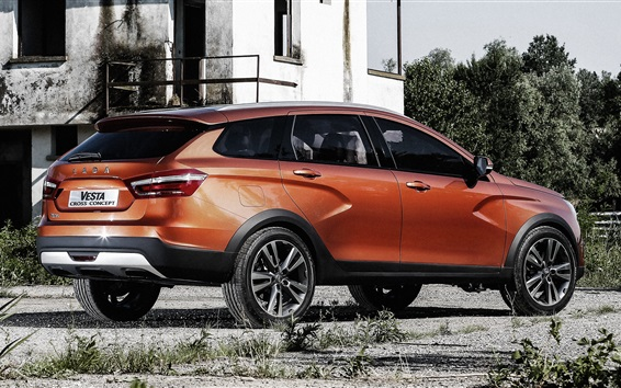 Wallpaper Lada Vesta cross concept car, orange SUV