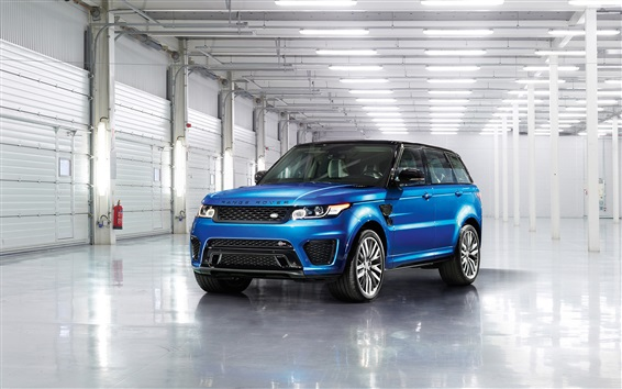 Wallpaper Land Rover Range Rover blue SUV car front view