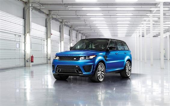 Fond d'écran Land Rover Range Rover bleu SUV voiture vue de face