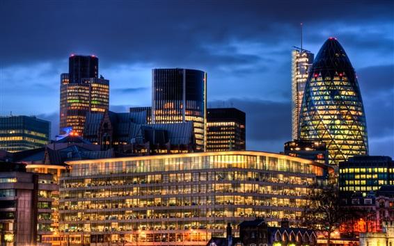 Papéis de Parede Londres, Inglaterra, noite, cidade, edifícios, luzes