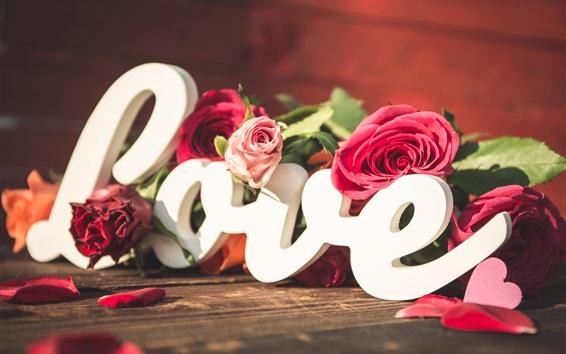 Wallpaper Love, roses, hearts, petals, romantic