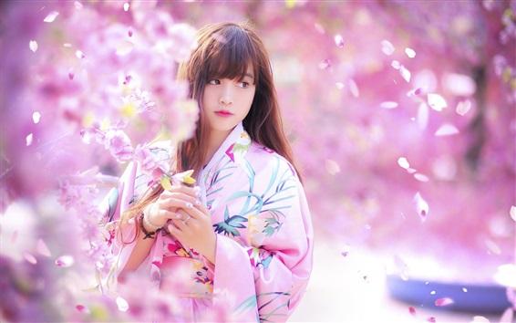 Wallpaper Lovely Japanese girl, spring, sakura, kimono