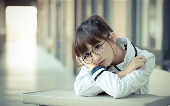 Wallpaper Lovely school girl, Asian, glasses