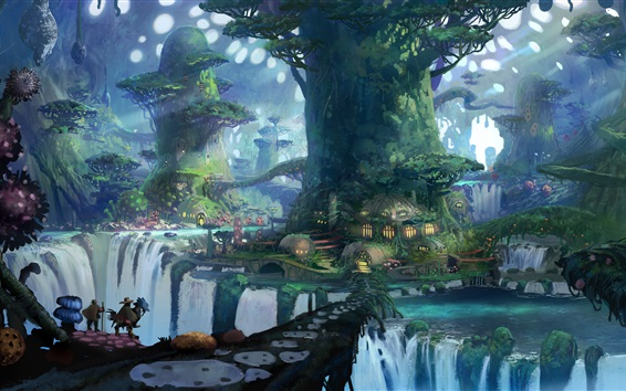 Magic forest, trees, houses, art drawings Wallpaper Preview