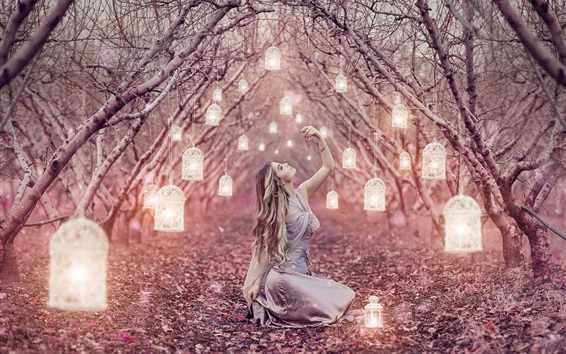 Wallpaper Magic lanterns, long hair girl, trees