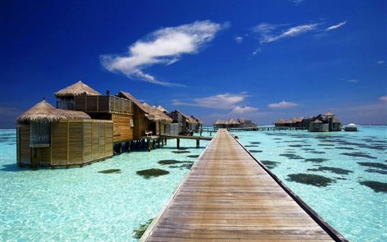 壁紙 モルディブ、熱帯、小屋、リゾート、海