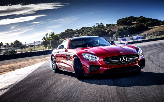 Wallpaper Mercedes-Benz AMG red car speed, front view