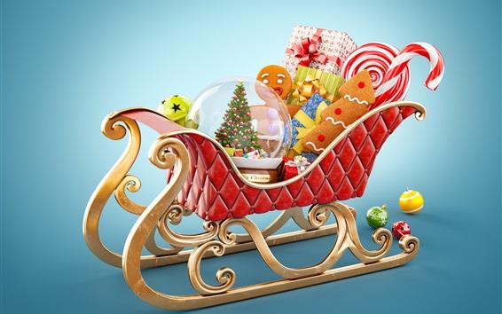 Fond d'écran Joyeux Noël, traîneau du Père Noël, cadeaux