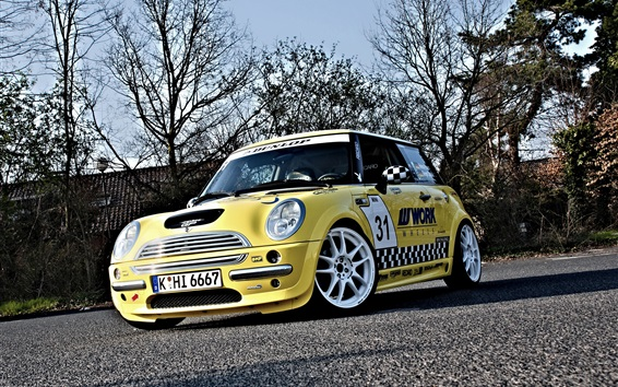 Wallpaper Mini Cooper yellow car front view