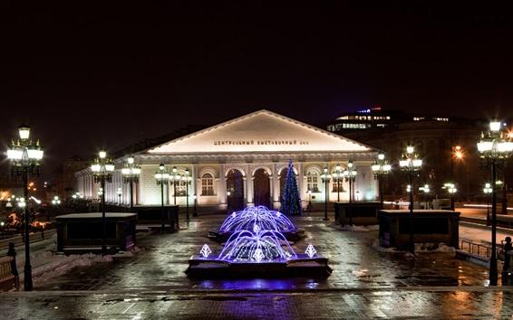 Обои Москва, музей, огни, город, ночь