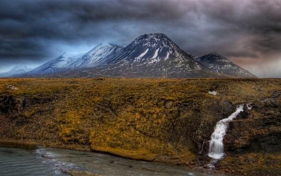 Wallpaper Mountains, creek, clouds, dusk