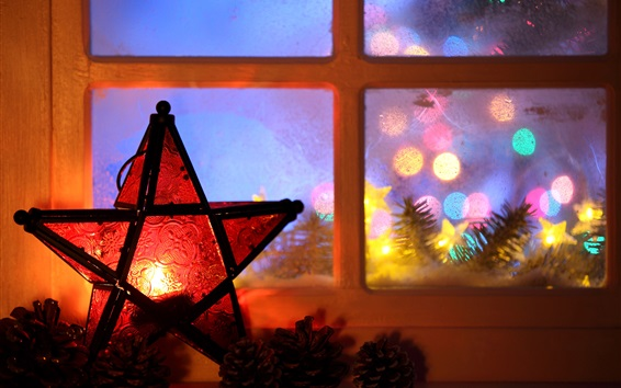 Wallpaper New Year, Christmas, 2017, lights, candle, five-pointed star, window