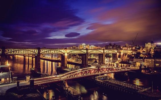 Wallpaper Night, bridge, river, city, lights, Newcastle, UK