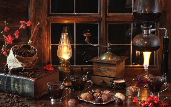 Обои Ночь, комната, натюрморт, окно, лампа, книги, шоколад, кофе в зернах, кофемолка