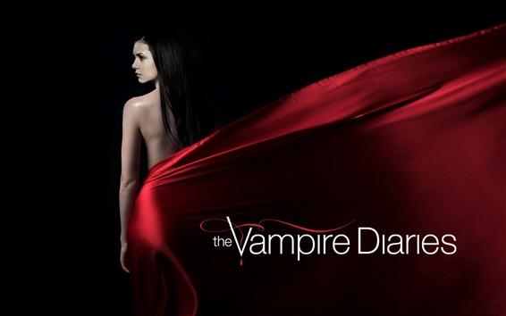 Fondos de pantalla Nina Dobrev, The Vampire Diaries, vestido rojo, fondo negro