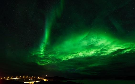 Fond d'écran Nord, lumières, étoiles, nuit, ciel, nuages, pont, lumières