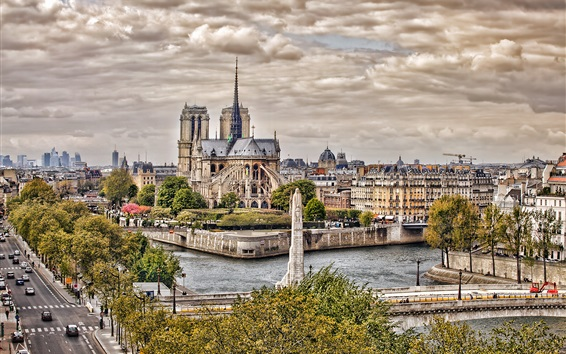 Wallpaper Notre Dame Cathedral, Paris, France, city, road, trees, river, clouds