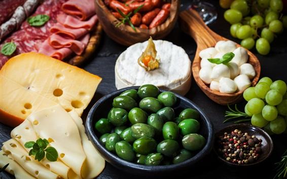 Fondos de pantalla Aceitunas, queso, salchichas, jamón, uvas, comida