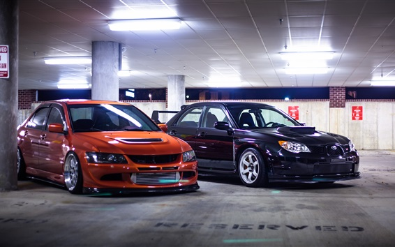 Wallpaper Orange and black cars stopped at parking