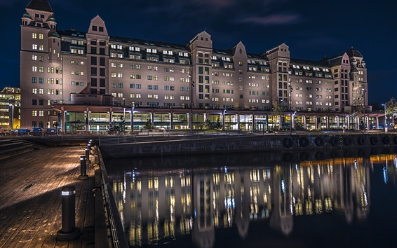 Wallpaper Oslo, Norway, house, night, lights, water reflection, river