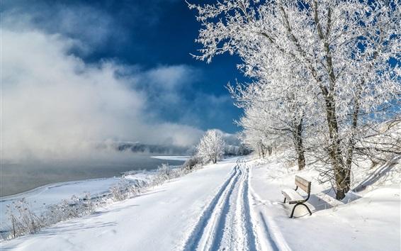 Fond d'écran Parc, hiver, neige épaisse, arbres, banc, étang