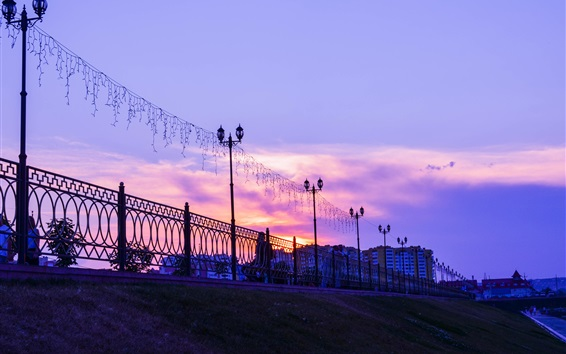 Wallpaper Penza, Russia city, sunset, lights, fence, clouds