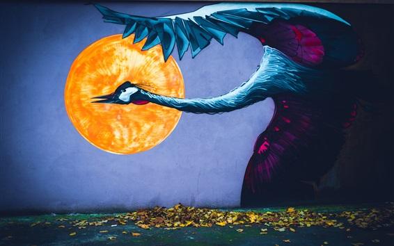 Обои Феникс, солнце, листья, искусство картина