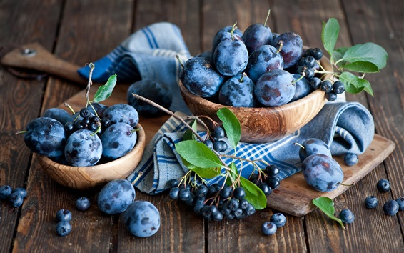 Wallpaper Plums and blueberries, fruit photography
