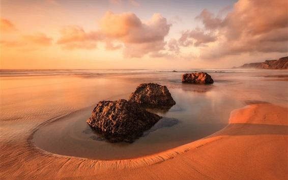 Обои Португалия, пляж, камни, море, облака, закат