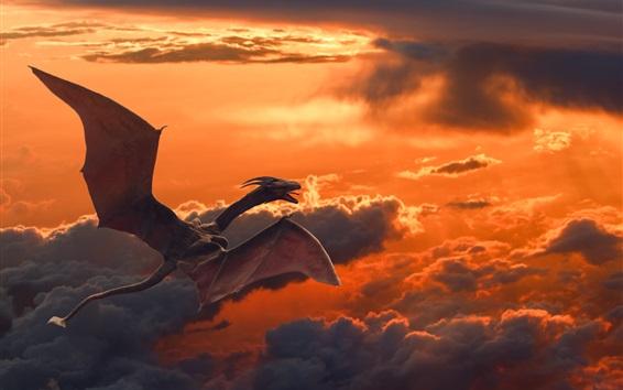 壁紙 空に飛ぶ竜、竜、雲、夕暮れ