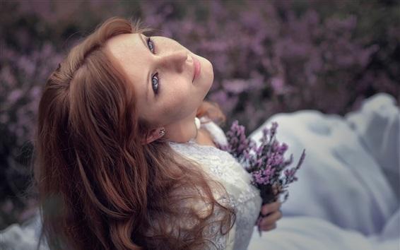 Wallpaper Red hair girl, freckles, lavender flowers