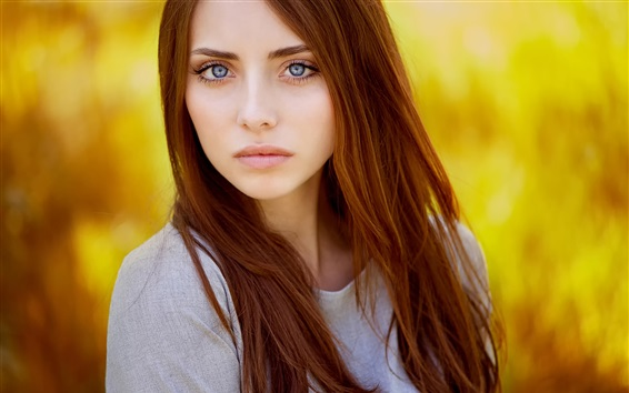 Fondos de pantalla Pelo rojo chica, modelo, fondo naranja