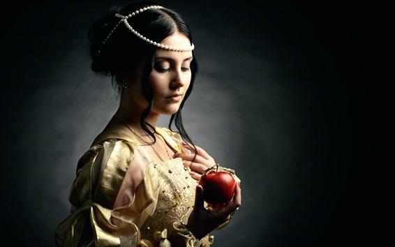 Fond d'écran Style Renaissance, fille portrait, pomme rouge