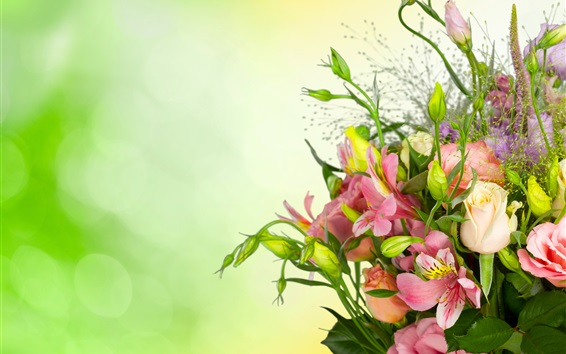 Wallpaper Roses, eustoma, bouquet, flowers, green background