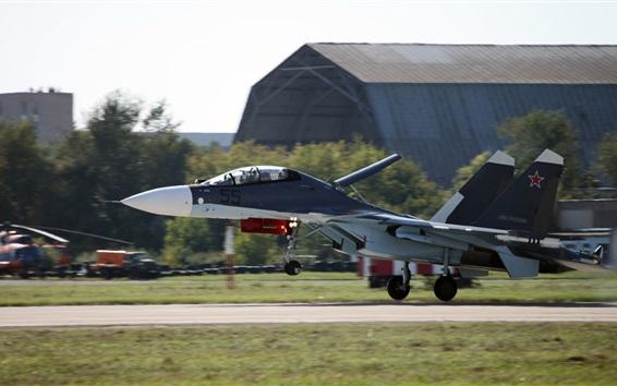 Wallpaper Russian multipurpose fighter, Su-30 landing