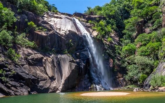 Wallpaper Sao Paulo Waterfall in Brazil, cliff, rocks, plants