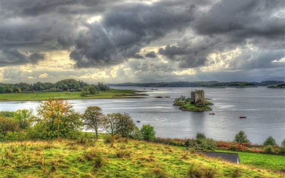 Wallpaper Scotland, Castle Stalker, island, bay, clouds, grass, trees