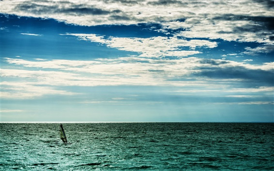 Wallpaper Sea, clouds, sky, horizon, windsurfing