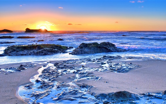 Wallpaper Sea, coast, rocks, waves, sunrise, dawn