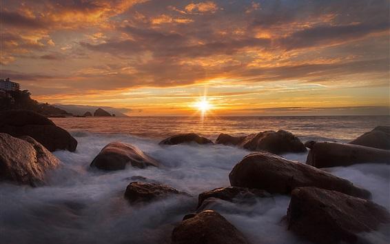 Fond d'écran Mer, pierres, nuages, coucher soleil, nature, paysage