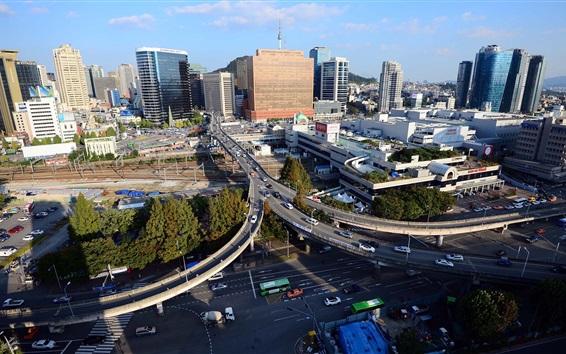 Fondos de pantalla Seúl, Corea del Sur, ciudad, rascacielos, tráfico, carretera, puente