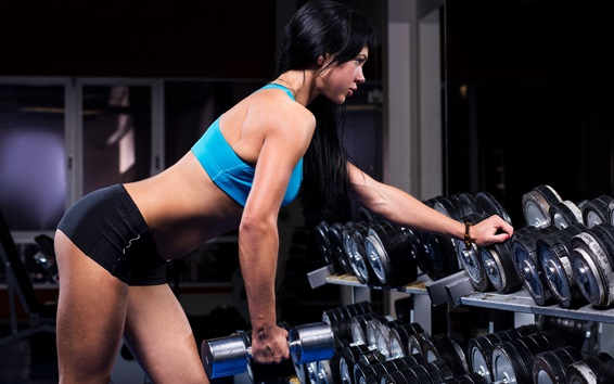 Wallpaper Sexy fitness girl, muscles, dumbbells